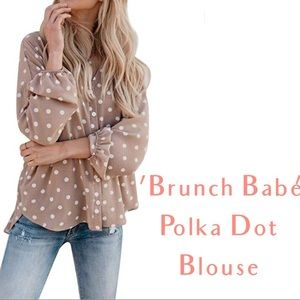 One Small Left - Polka Dot Button Down Blouse